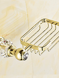 European Style Solid Brass Crystal Gold Bathroom Shelf Bathroom Soap Basket Bathroom Accessories