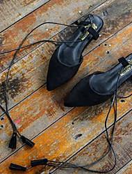 Femme Ballerines Confort Laine synthétique Automne Décontracté Confort Talon Plat Noir Orange Gris Plat