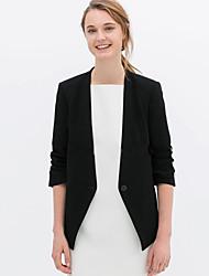 c + impressionner travail simple ressort des femmes / automne blazersolid manchon v cou blanc / coton noir opaque