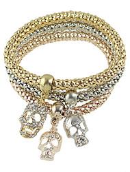 Multicolors Rhinestone Skull Charms Chain Bracelets Set