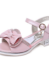 Girl's Sandals Summer Leather Casual Flat Heel Bowknot Pink White Others