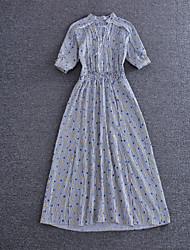 simple démo sortir / casual quotidienne robe / / simples / gaine sophistiquée, rayé maxi ras du cou ½ longueur manches gris
