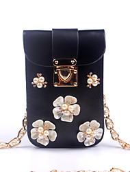 Women PU / leatherette Sports / Casual / Event/Party / Outdoor Evening Bag/Shoulder/Crossbody/Diamonds Pearl Phone Bag