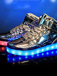 Masculino-Tênis-Conforto Light Up Shoes-Rasteiro-Prateado Dourado-Courino-Festas & Noite Casual Para Esporte