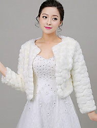 Women's Wrap Shrugs Long Sleeve Faux Fur White / Red Wedding / Party/Evening Scoop 42cm Feathers / fur Open Front