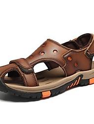 Men's Sandals Summer Leather Casual Flat Heel Brown Khaki