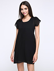 Women's Round Neck , Chiffon Above Knee Short Sleeve, Dress