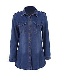 Women's Solid Blue Denim Coat , Vintage