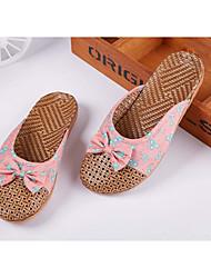 Unissex-Chinelos e flip-flops-Sapatos com Bolsa Combinando-Rasteiro-Vermelho / Cinza / Coral / Azul Real / Café-Bambo-Casual