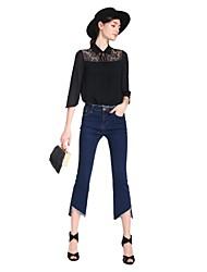 Goelia® Damen Peter Pan-Kragen 1/2 Länge Ärmel Shirt & Bluse Schwarz-167C3B080