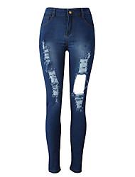 Women's Solid Blue Jeans PantsVintage All Seasons