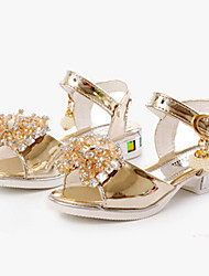 Girl's Sandals Summer Sandals / Open Toe Glitter Casual Chunky Heel Applique Pink / Silver / Gold Others