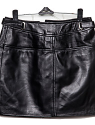 Women's Sheep Skin Leather SkirtSolid Black Skirts Sexy / Simple
