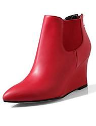 Damen-Stiefel-Lässig-Leder-KeilabsatzSchwarz Rosa Lila Rot Beige