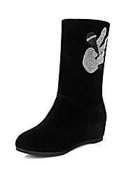 Feminino-Botas-Plataforma Inovador Botas de Cowboy Botas de Neve Botas Montaria Botas da Moda-Anabela Plataforma-Preto-Couro Envernizado