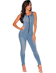 Women's Denim Stretch Zipper Jumpsuit