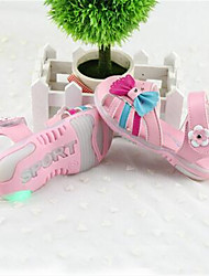 Girl's Sandals Summer Sandals / Round Toe Leather Casual Flat Heel Bowknot Pink / White Others