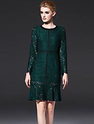 FRMZ  Women's Formal Simple DressSolid Round Neck Above Knee Long Sleeve Green