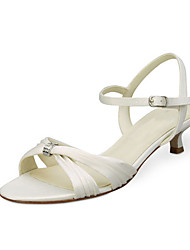 Women's Sandals Summer Stretch Satin Wedding Party & Evening Low Heel Crystal Ivory White Others