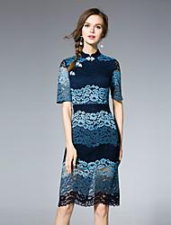 jojo hans femmes sortant gaine chinoiserie dresssolid se tiennent au-dessus du genou manches courtes polyester bleu