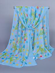 Women's Chiffon Flowers Print Scarf Blue/Purple/Pink/White/Beige