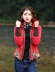 Our Story Women's Short Padded CoatBoho Going out Embroidered-Polyester Cotton Long Sleeve Stand Red