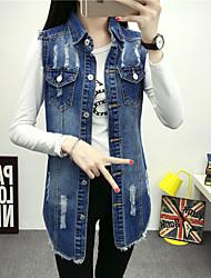 Vestes en Jean Femme,Couleur Pleine Décontracté / Quotidien simple Manches Longues Col de Chemise Bleu Cuirs Particuliers Opaque Printemps