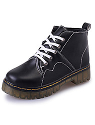 Women's Boots Fall PU Casual Flat Heel Lace-up Black White Other