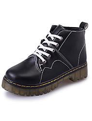 Черный / Белый-Женский-На каждый день-Полиуретан-На плоской подошве-Военные ботинки / С круглым носком / На плокой подошве-Ботинки