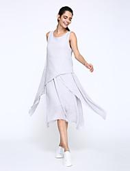Robe Aux femmes Ample Vintage / Simple,Couleur Pleine / Mosaïque Col Arrondi Midi Coton / Lin