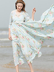 Ramie Cotton Women's Beach Chinoiserie Loose DressFloral V Neck Maxi  Sleeve Blue Others Summer