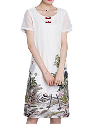 Summer Women's Casual/Daily/Chinoiserie Chiffon Dresses Round Neck Short Sleeve Fashion Printing Knee-Length Dress
