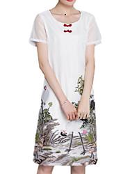 Mousseline de Soie Robe Aux femmes Sortie / Décontracté / Quotidien / Grandes Tailles Chic de Rue / Chinoiserie,Imprimé Col Arrondi