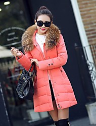 Women's Solid Pink / Black Down CoatSexy Hooded Long Sleeve