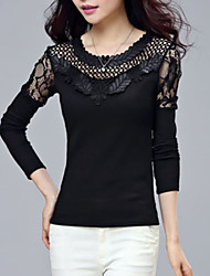 2016 Spring Women's Lace Long-Sleeved T-Shirt