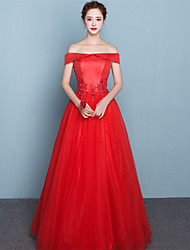 Formal Evening Dress - Elegant Ball Gown Off-the-shoulder Floor-length Satin Tulle with Appliques