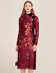 YIGELILA Crafts Women's Crew Neck Long Sleeve Tea-length suit-62099