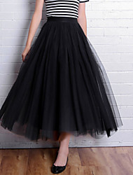 Women's Solid Black / Gray Skirts,Cute Knee-length