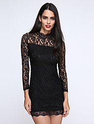 Women's Party/Cocktail Sexy Bodycon Dress,Solid Turtleneck Mini Long Sleeve Black Cotton Fall