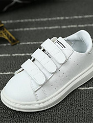 Girls' Sneakers Fall Comfort Leather Casual Flat Heel Lace-up White Black Walking