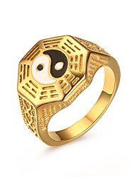 Men's Band Rings Stainless Steel High Polished Enamel IP Gold Plating Casual Daily Party Hallowmas(Black)(1Pc)