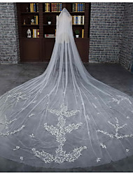 Wedding Veil Two-tier Cathedral Veils Cut Edge Tulle / Lace Ivory Flowers