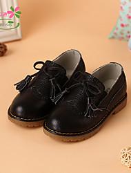 Girl's Flats Spring Fall Comfort Leather Outdoor Flat Heel Tassel Black Pink White Walking