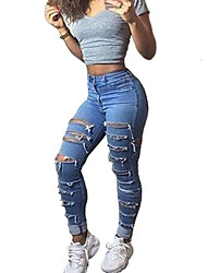 Women's Solid Blue Jeans / Chinos / Skinny PantsVintage / Street chic