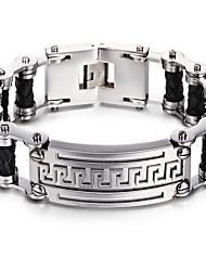 kalen®2016 nova moda pulseira de corrente de bicicleta de homens de aço inoxidável 316L&link de couro dom pulseira cadeia