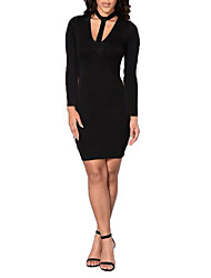 Women's Going out / Party/Cocktail / Club Sexy / Simple Bodycon DressSolid Halter Above Knee Long Sleeve Black
