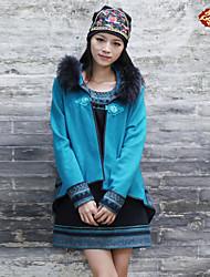 Feminino Jaqueta Happy-Hour Boho Inverno,Estampado Azul Lã / Raiom Com Capuz-Manga Longa Grossa