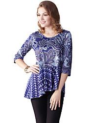 Damen Druck Einfach Lässig/Alltäglich T-shirt,Rundhalsausschnitt Sommer ½ Länge Ärmel Lila Polyester / Elasthan Dünn