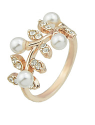 Pearl Rhinestone Leaf Shape Statement Rings