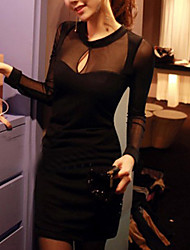 Women's Club Sexy Sheath Dress,Solid Round Neck / Deep V Mini Long Sleeve Black Cotton All Seasons